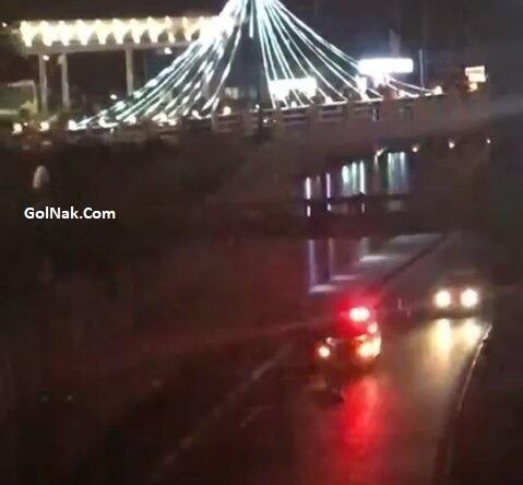 فیلم خودکشی پل عابر پیاده میدان رسالت تهران 24 آذر 96 + دلیل خودکشی